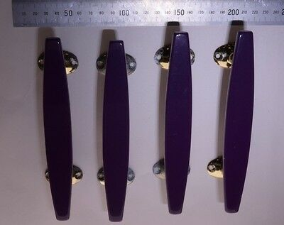 Ref 50 - Four original Wilbec Lucite Door Handles Purple and Brass Plate - 1960s