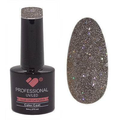 842 VB Line Dark Grey Silver Glitter - nail gel polish - UV/LED 8ml bottle