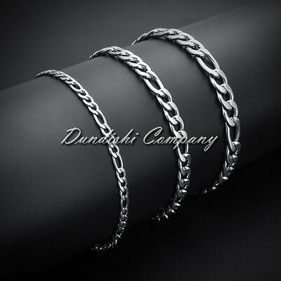 3 6 9 mm Men's Stainless Steel Silver Curb Figaro Chain Bangle Bracelet Anklet