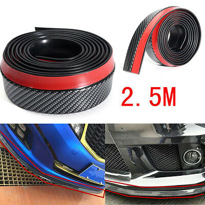 2.5M Carbon Fiber Car Front Bumper Lip Splitter Spoiler Chin Lip Skirt Protector