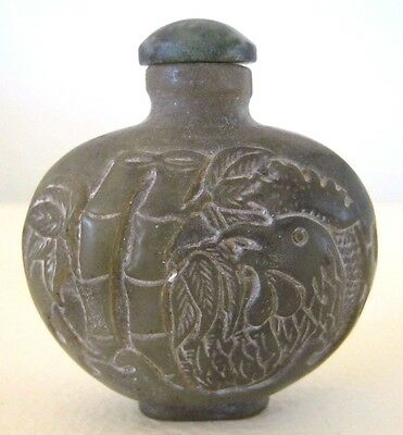 Jade/Natural Stone Hand Carved Chinese Snuff Bottle - Rooster & Bamboo