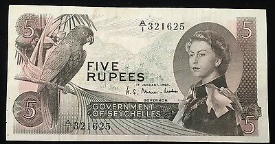 1968 SEYCHELLES 5 RUPEES P # 4a