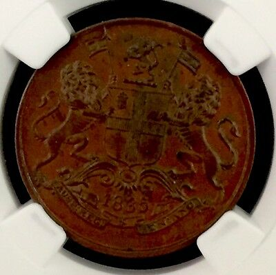 1835 C India 1/4 Anna S&w-1.89 Type A/3 18 Berries-Sloping 1 Ngc Ms62 Brown Pop4