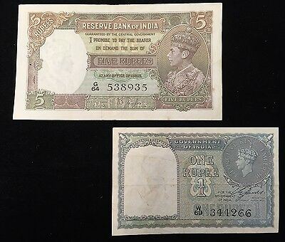 LOT/2 INDIA 1937/1940 1 & 5 RUPEES P #'S 18a/25a