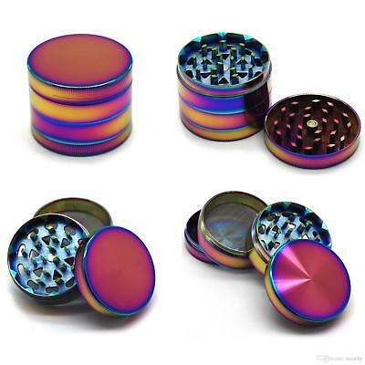 4 Part 40mm Herb Rainbow Grinder Magnetic Metal Diamond Teeth Grinder UK SELLER