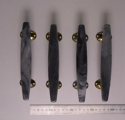 Ref 31 - Four original Wilbec Lucite Door Handles Marble effect and Brass Plate