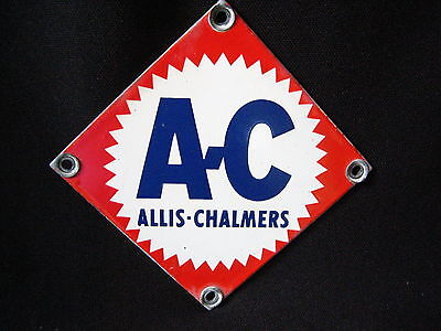 Vintage 4'' by 4'' 1940s 1950s Allis-Chalmers Porcelain Sign Metal AC Tractor?