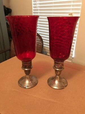 Vintage Beautiful Gorham 661 Sterling Silver Candlestick Red Cranberry Glass