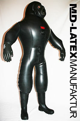 "MD-LATEX ""Black Cyborg"" FERTIG - 1,5mm aufblasbar NEU Heavy Rubber  Latexanzug"