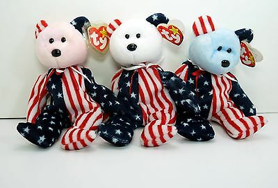 "Ty Beanie Babies Set of 3 ""Spangle""  Red, White & Blue Heads"
