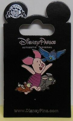 Disney Pin Target Piglet With Blue Bird, Grey Rabbit & Brown Chipmunk Pin