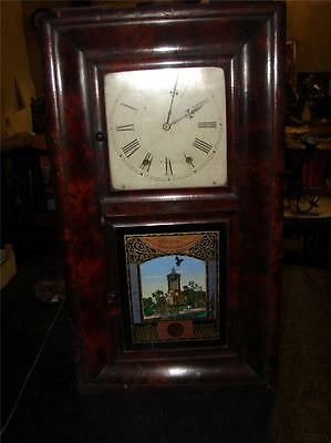 F451 Antique American Wall Clock by Clock Company Cennecticut with pendulum sorr
