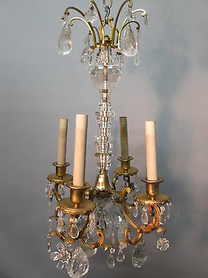 "Antique 1890's Rock Crystal French Bronze Chandelier Bagues Style 31"" Long"