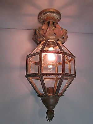 "1800's Antique Hand Wrought Copper Moorish Flush Mount Ceiling Light 21"" Long"