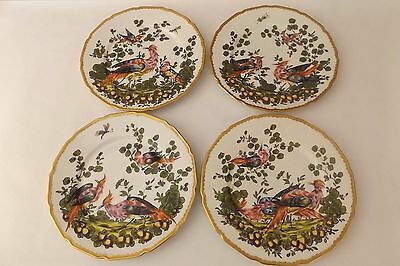 Set of 4 Antique Chelsea Bird Dinner Plates Marked with Gold Bow Anchor