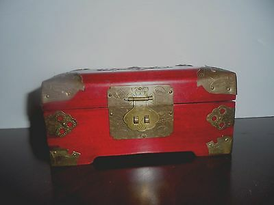 Vintage Asian Jewelry Box, Wood w/Brass & Inlaid Carved White Jade