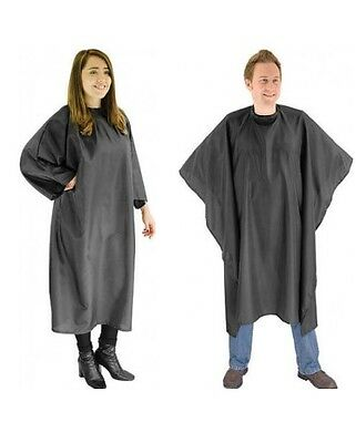 Dmi Redspot Poly Cape Gown Velcro Black Perfect For Hairdressers/barbers Use