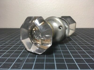 Vintage Antique Glass Brass Silver Door Knob And Spindle