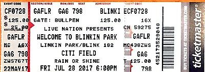 Linkin Park Blinkin Park Citifield 7/28 Collectible Ticket To Last Tour X Show
