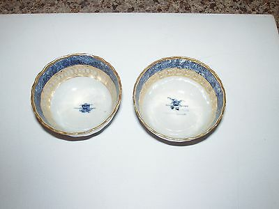 Antique Possibly Asian Chinese Japanese Dipping Sauce Bowls Canton Blue Pattern