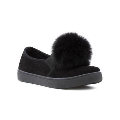 Lilley Womens Black Pom Pom Faux Suede Casual Shoe - Sizes 3,4,5,6,7,8,9