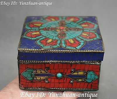 Turquoise Coral Gem Faqi Phurba Casket Jewel Box Case Jewelry Boxes Statue