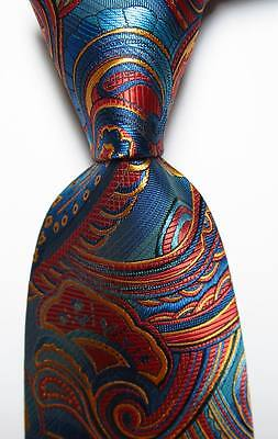New Classic Paisley Navy Red Gold JACQUARD WOVEN Silk Men's Tie Necktie