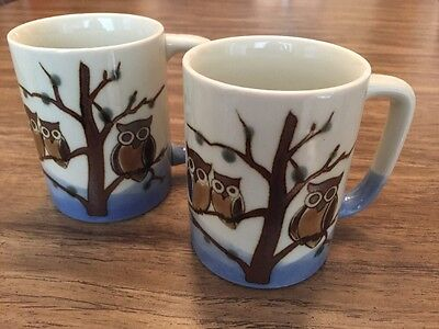 Owl Cups Mugs Set Of 2 Blue Ivory Brown Vintage FABULOUS! Otagiri? • $9.99
