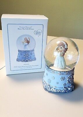 Precious Moments Snow Globe - PWP Angel with Snowflake Waterball - New - In Box