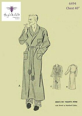 """1940's Vintage Sewing Pattern Men's Dressing Gown Robe Smoking Jacket Chest 40"""""""