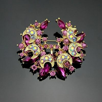 Gorgeous Gold Plated Purple Rainbow Crystal Vintage Inspired Statement Brooch
