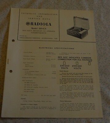 Technical & Service Data Brochure AWA Radio / Record Player 589-GA radiogram