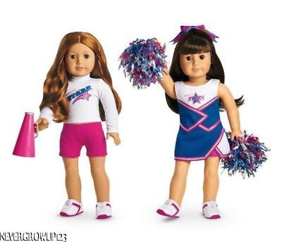 American Girl 2 In 1 Cheer Gear~Cheerleading Outfit~Pompoms~Megaphone~Blue~New