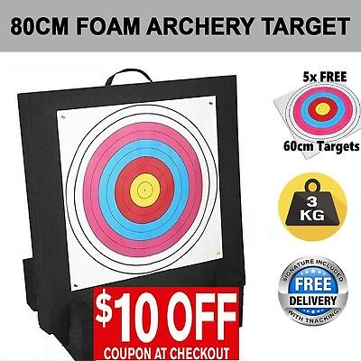 80cm High Density Self Healing XPE Foam Portable Archery Target + 5 Paper Face
