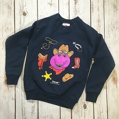 Vtg Barney The Dinosaur Cowboy Sweatshirt Child's Size 6x-7 Made In USA TAG 1993