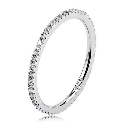 STACKING Ring 925 Solid Sterling Silver White Pave Stackable Band Size 9