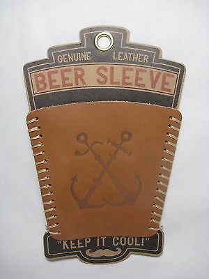 Trixie & Milo Leather Beer Pint Glass Sleeve Cooler Down The Hatch Anchor Logo