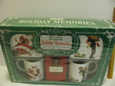 COMPLETE Set NORMAN ROCKWELL Coffee MUG  New Christmas SANTA w/Coasters x2