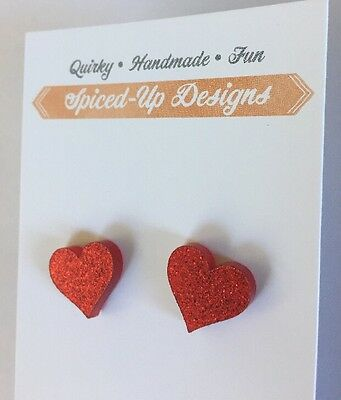 Acrylic Red Glitter Love Heart Stud Earrings Surgical Stainless Steel, Laser Cut