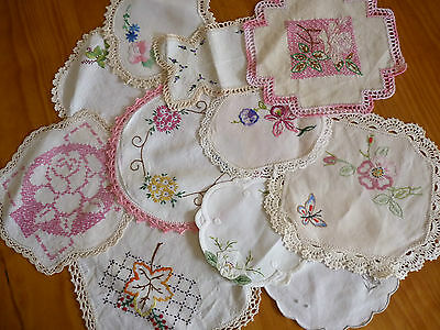 LOT of 11 ASSORTED Vintage Small & Sandwich Doilies Hand Embroidered #7