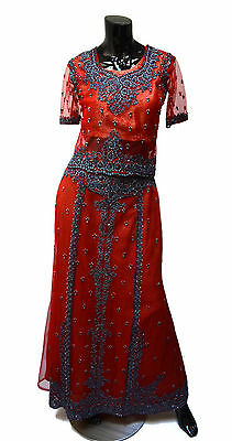Opulent Lengha Choli Indian Outfit Sz S Red Gold with Steel Gray Beading