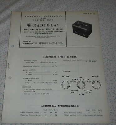 Technical & Service Data Brochure AWA Radiola Model 451-P and 451-PZ valve radio