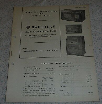 Technical & Service Data Brochure AWA Radiola Model 515-M 616-T & 716-C radio