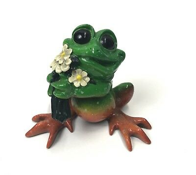 "Kitty's Critters Frog With Flowers ""Just Because"" 2007 Excellent Condition"