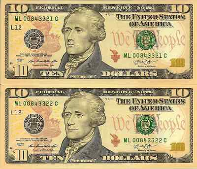 USA: 2013 Uncirculated Consecutive Pair of Ten Dollar Banknotes (San Francisco)