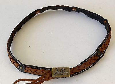 Genuine Buffalo plated Leather hat band  Adjustable Australia made with badg