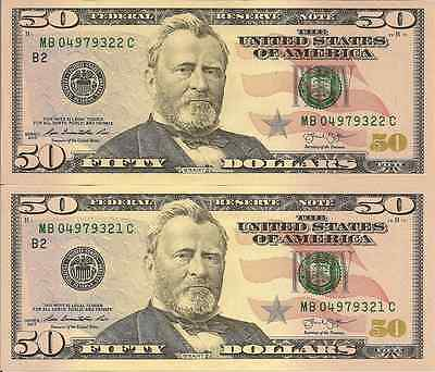 USA: 2013 Uncirculated Consecutive Pair of Fifty Dollar Banknotes (New York)