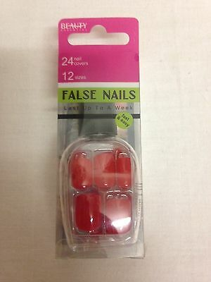 Beauty Essential False Nails 24 nail covers 12 sizes no glue required in Red