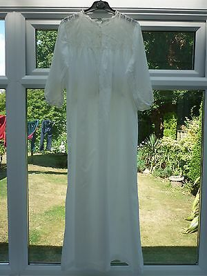 Victorian Edwardian Vintage White Cotton Nightgown Nightdress Needs repairs