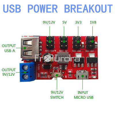 USB Power Breakout DC to DC Power Module Micro USB 5V to 1.8V/3.3V/5V/9V/12V